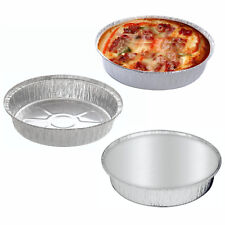 5 x Large Aluminium Foil Dishes Tray Round Bake Pie Casserole Flan Lids Takeaway