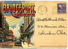 "GREETINGS from BRIDGEPORT, CT - ""THE PARK CITY"" Postcard Folder 1949 LINEN"