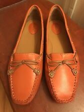NEW Clarks Artisan Dunbar Racer 10 Orange Leather Driving Mocs Loafers Boat Shoe