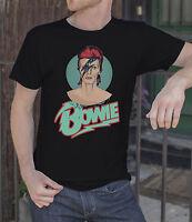 David Bowie Men Black T-shirt Rock Tee Shirt Ziggy Stardust
