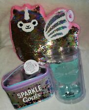 Justice Girls Sequin Llamacorn Pillow Gift Lot Bath Makeup Bag Jewelry unicorn