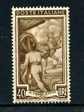 1950 ITALIA AL LAVORO RUOTA 40 L.NUOVO NEW REPUBBLICA ITALIANA FRANCOBOLLO