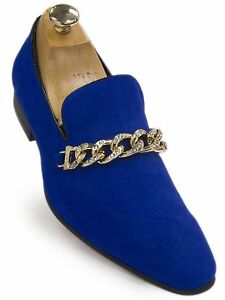 Fiesso Mens Royal Blue Suede Gold Metal Bling Point Toe SlipOn Party Loafer Shoe