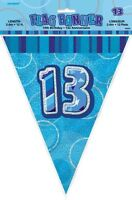 GLITZ BLUE FLAG BANNER 13TH BIRTHDAY 3.6M/12' BIRTHDAY PARTY SUPPLIES