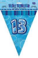 GLITZ BLUE FLAG BANNER 13TH BIRTHDAY 3.6M/12' BIRTHDAY PARTY SUPPLIES