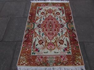 Fine Old Vintage Traditional Hand Made Rug Wool Silk Pink White Rug 153x101cm