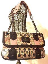 Christian Audigier Glitter Purse Handbag Bag Brown Lilac Purple Shoulder Bag EUC