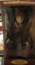 """New In Box Collectors Choice Porcelain Doll - Red Victorian Style Dress - 16"""""""