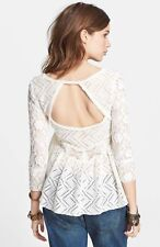 Free People GRACIE Lace Top Blouse Shirt Tunic M NWOT