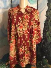 Denim 24/7 XL New Maroon Floral Button Down Front Pleats 3/4 Sleeve Tunic Top