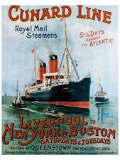 VINTAGE Giclee Print Cunard Line Liverpool New York by R.M Neville Cumming 28x36