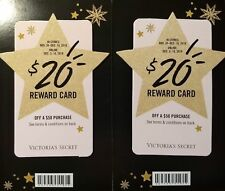 2 Victoria's Secret VS PINK $20 Reward Card Valid store & Online Total $80 Value