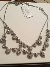 $125 Givenchy Chase Collection Double Strand Silver Tone Necklace 122 GN