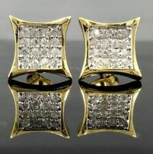 NEW $69 Mens 14k GOLD Gp iced CUSTOM Simulated Diamond HipHop EARRINGS Bling Out