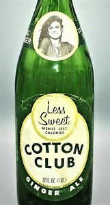 4765~Vtg Green Glass COTTON CLUB BIG GINGER Paper Label Soda Bottle Cleveland OH