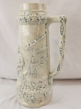 Large German Style Beer Stein 14 inches Raised Graphics Vase or Mug White Blue