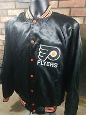 Vintage Philadelphia Flyers NHL Hockey Snap Satin Jacket Mens XL Pennsylvania