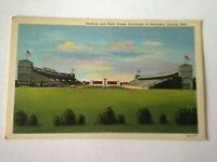 Vintage Linen Postcard University Of Nebraska Lincoln  Stadium & Field M1