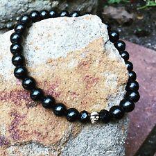 sterling silver skulls black grim reaper Skull men bracelet hand made .925