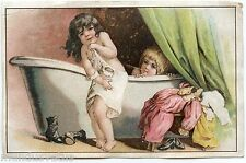 Chromo . CHICORéE à la Ménagère. DURYON & RAMETTE .CAMBRAI. Enfants dans le Bain