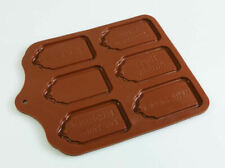 6 cell Large Edible Gift Tags Silicone Chocolate Mould Craft Mold Label Bottle