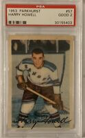 1953 1954 PARKHURST Harry Howell PSA 2 RC ROOKIE #57 Good GD