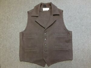 Mens FILSON Mackinaw Wool Western Collared Vest Brown X-Large XL Made In USA VGC
