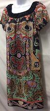 ANNA SUI Anthropologie Peasant Boho Scarf Floral 100% Silk Shift Dress Sz 4