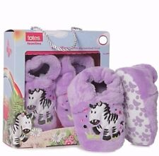 Totes toasties 6-12 months baby girls slip resistant zebra slippers New in Box