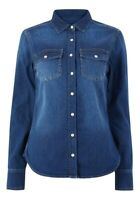 Women's Marks and Spencer Per Una Blue Denim Shirt With Patch Pocket RRP £35