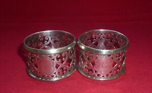 Antique Solid Silver Pair of Napkin Rings by Levi & Salaman, Birmingham 1904
