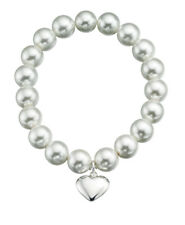 Silver Stretch Pearl Bracelet with Puff Heart and Gift pouch