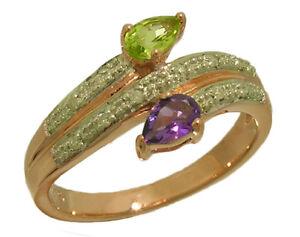 R218 Genuine 9ct, 10K 18K Gold Natural Peridot Amethyst Diamond Suffragette Ring