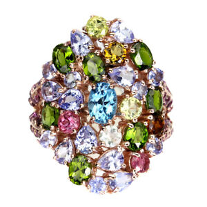 Oval Swiss Blue Topaz Chrome Diopside Tanzanite Gems 925 Sterling Silver Ring 8