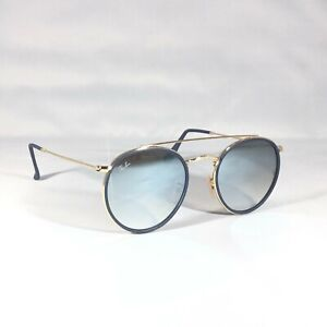 Ray-Ban Round Double Bridge 3647N Sunglasses Gold Blue Frames with Silver Mirror