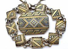 Vintage Damascene Bracelet Brooch Pin Demi Set Gold Plated Toledoware Jewelry
