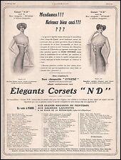 """Publicité  corset """" ND """" lingerie femme vintage print Belle Epoque  ad 1910 - 3i"""