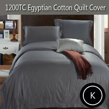 1200TC Soft Egyptian Cotton Collection Quilt Cover Set in Pewter- King