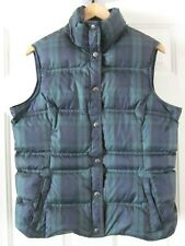 LANDS END Quilted Down Filled Puffer Vest  Blackwatch Plaid Blue Green M (10-12)