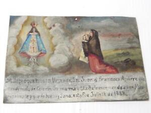 VINTAGE TIN MEXICAN RELIGIOUS EX VOTO RETABLO MEXICO CATHOLIC CHRISTIAN FOLK ART