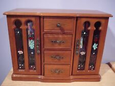 Vintage Wood Jewelry Box Music The Beatles 'Yesterday' Dresser style Glass Doors