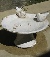 Ceramic Bird Bath White Round with Birds Birdbath Feeder Garden Outdoor Pottery