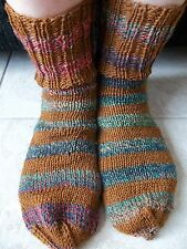 Hand knitted striped wool blend socks,brown/ green tones