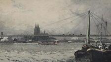 Alte Radierung Köln am Rhein mit Severinsbrücke Josef Eidenberger