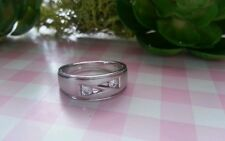 Beautiful Ring Real Platinum Sterling Silver 925 Band CZs Size 6.5 &Size 7 D63