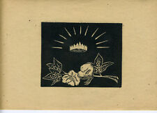 1930s Linoleum Cut Print of Flowers & Crown in Style of Rockwell Kent (48)