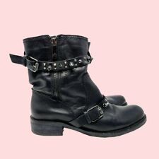 Sam Edelman Women's Black Silver Spiked Combat Motorcycle Boots Size 9.5 Rock