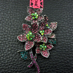 Rhinestone Pink Shiny Crystal Flower Betsey Johnson Charm Brooch Pin Gifts