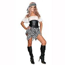 Sexy Ladies Pirate Fancy Dress Black-White Stripe Hen Doo Costume