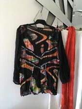 CAROLINE MORGAN Orange Green Black 3/4 Sleeve Crushed Sheer Top Blouse 14 PC